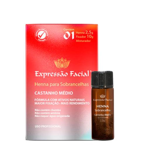 Hintz Cosmetics Expressão Facial Henna para Sobrancelhas Tom Castanho Médio