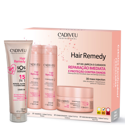 Kit Cadiveu Home Care Leave-in Hair Remedy Complete Hydration SOS Serum Hair Care 4 Units
