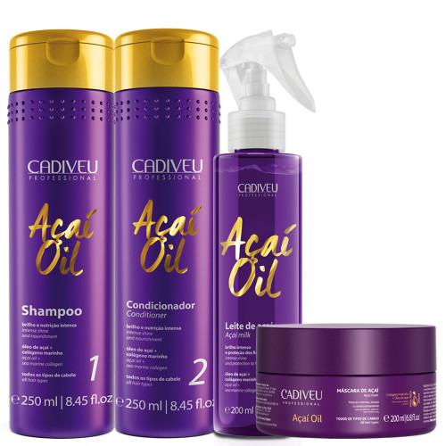 Kit Cadiveu Shampoo Conditioner Açaí Milk Oil Daily Home Care Treatment