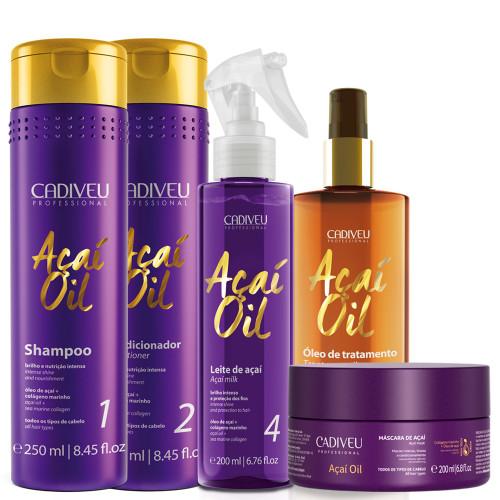 Kit Cadiveu Açaí Oil Complete Hydration Treatment Intense Shine Hair Care 5 Units
