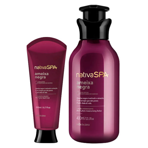 O Boticário Kit Nativa SPA Ameixa Negra Body Deodorant Moisturizing Lotion & Liquid Soap