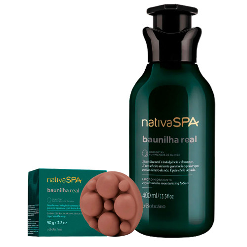O Boticário Kit Nativa SPA Baunilha Real Body Deodorant Moisturizing Lotion & Massage Bar Soap