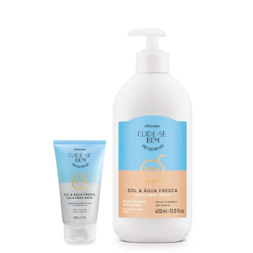 O Boticário Kit Cuide-se Bem Sol e Água Fresca  Body Deodorant Moisturizing Lotion & Exfoliating Liquid Soap
