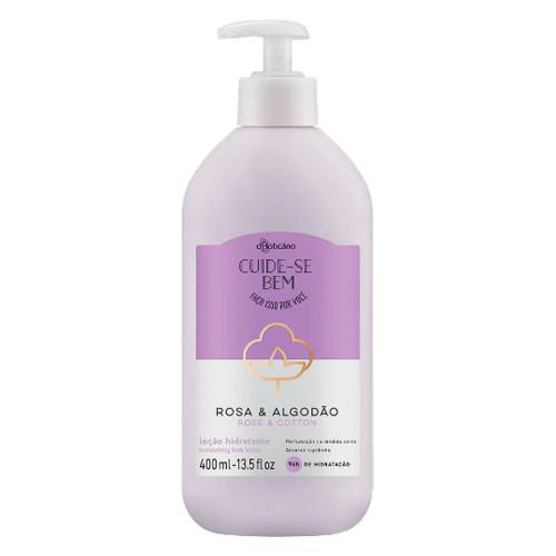 O Boticário Cuide-se Bem Body Deodorant Moisturizing Lotion Rosa e Algodão 400ml/14.1oz