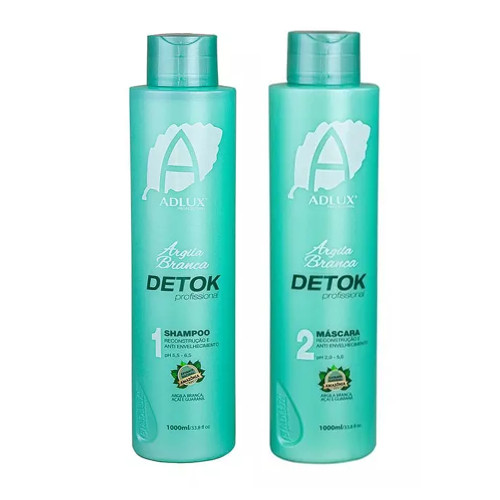 Kit Adlux Shampoo Mask Detok Anti Aging Argila Branca Intense Treatment Hair Care 2x1L/2x33.8fl.oz