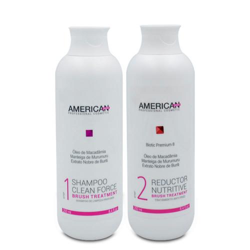 Kit American Desire Progressive Brush Treatment Clean Force Nutritive Professional Use 2x250ml/2x8.45fl.oz