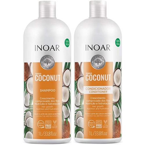 Inoar Bombar Coconut Nutrition and Hydration Explosion Kit 100% Vegan Hair Care 2x1L/2x33.8fl.oz