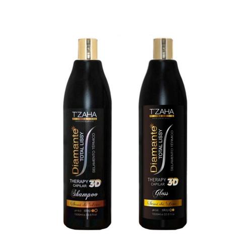 Kit Tzaha Progressive Diamante Total Lissy Diamond 3D Selagem Térmico Hair Care 2x1L/2x33.8fl.oz