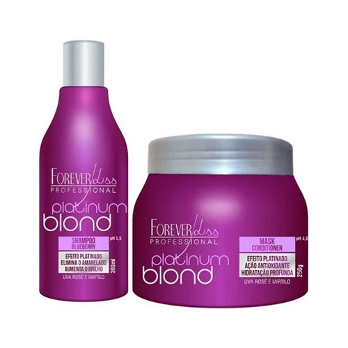 Forever Liss Kit Shampoo Mask Platinum Blond Matizer Blueberry Uva Rosê Mirtilo