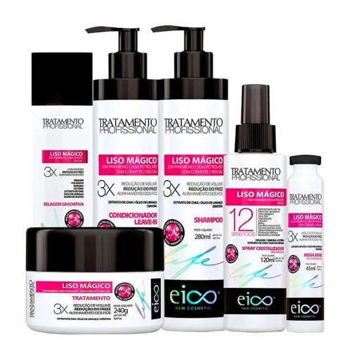Eico Liso Mágico Treatment Kit Shampoo Conditioner Selagem Spray Cristalizador Mega Dose