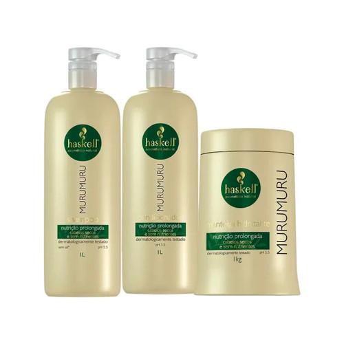 Kit Haskell Murumuru Shampoo Conditioner Moisturizing Mask Hair Care 3x1L/3x33.8fl.oz