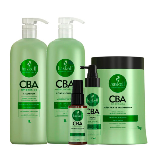 Kit Haskell CBA Amazonian Shampoo Conditioner and Treatment Mask Hair Tonic Multifunctional Oil