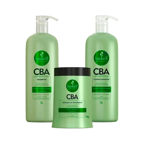 Kit Haskell Vegan CBA Amazonian Treatment Shampoo Conditioner and Mask Hydrates and Strengthens