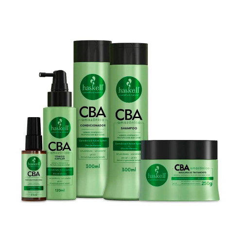 Kit Haskell Vegan Cba Amazonian Treatment Shampoo Conditioner Toner and Multifunctional Oil Hydrates and Strengthens