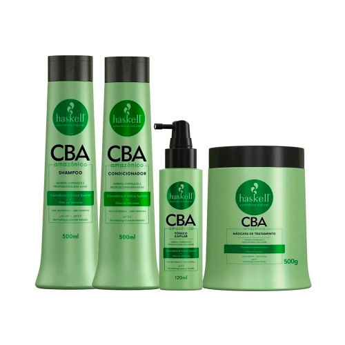 Kit Haskell Vegan Cba Amazonian Treatment Hydrates Strengthens Shampoo Conditioner Mask and Toner