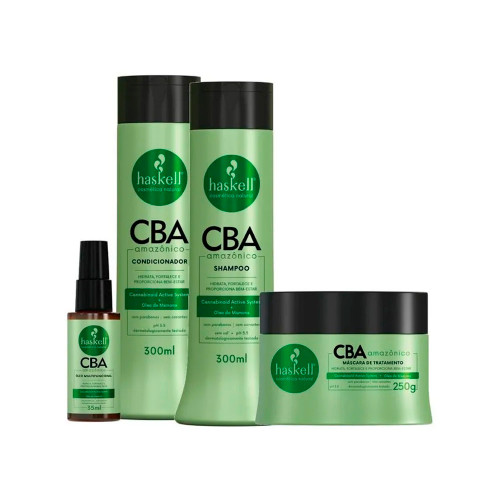 Kit Haskell Vegan CBA Amazônico Treatment Shampoo Conditioner Mask and Multifunctional Oil Moisturizes and Strengthens