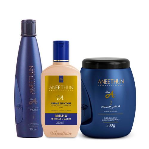 Kit Aneethun Professional Line A Shampoo 300ml/10.1 fl.oz Silicone Cream 250ml/8.45 fl.oz and Hair Mask 500g/16.9 fl.oz