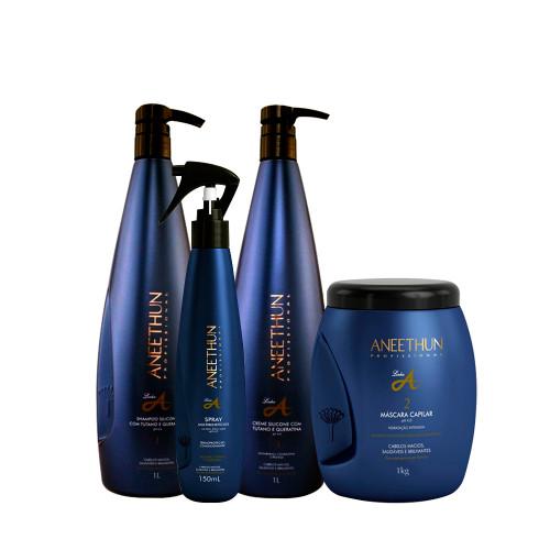 Kit Aneethun Hydration Line A Shampoo Cream Silicone Hair Mask and Multibenefits Spray