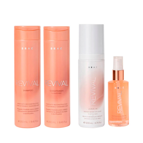 Braé Home Care Revival Treatment Kit Immediate Reconstruction Shampoo Conditioner Leave-in and Shine Oil
