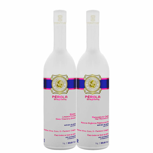 Kit Eternity Liss Progressive Organic Pérola Formaldehyde Free Shampoo and Hair Restorer 2x1L/2x33.8fl.oz