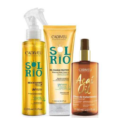 Cadiveu Sol Rio Re-charge + Spray Texturizador e Óleo Açaí