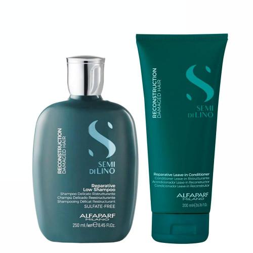 Alfaparf Milano Semi Di LINO Reconstruction Demage Hair Reparative Shampoo and Conditioner Home Care