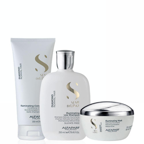 Alfaparf Milano Semi Di LINO Diamond Normal Hair Illuminating Shampoo/Conditioner/ Mask Kit Home Care