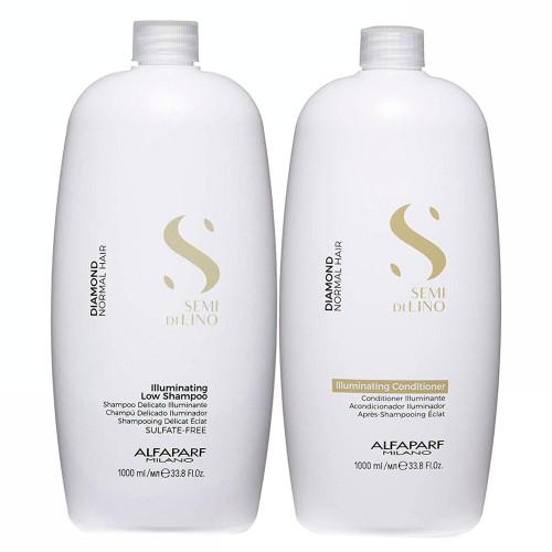 Alfaparf Milano Semi Di LINO Diamond Normal Hair Illuminating Shampoo and Conditioner 2x1L/2x33.8fl.oz