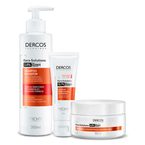 Kit Shampoo Leave-in Mask Vichy Dercos Kera-Solutions Plus 3 Products