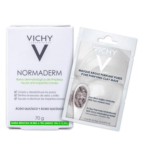 Kit Vichy Normaderm Cleansing Bar + Purifying Clay Sabonete Máscara Facial 2 Products