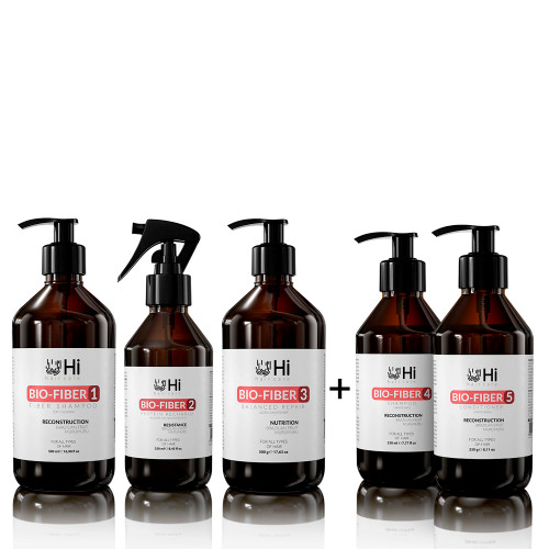 Kit Hi Hair Care Biofiber Shampoo Step 1 + Protein Recharge Step 2 + Ballanced Recharge Step 3 + Home Care Steps 4 and 5