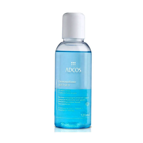 Adcos Bi-Phase Makeup Remover for All Skin Types Eyes and Face Panthenol Vitamin E Aloe Vera 120ml/4.05 fl.oz