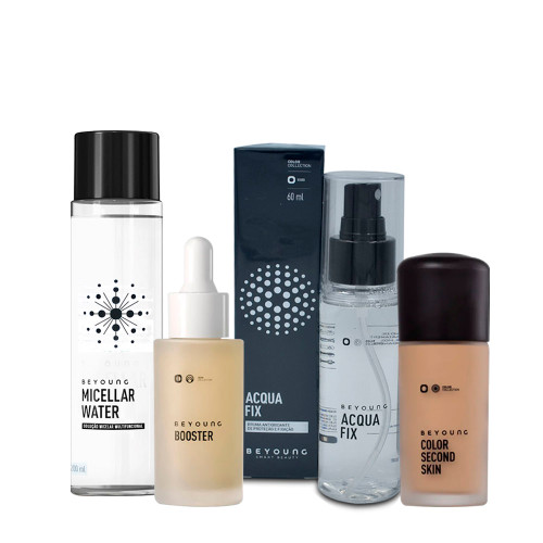 Kit Beyoung Acqua Fix Bruma + Micellar Water + Booster Serum + Base Color Second Skin 30 c