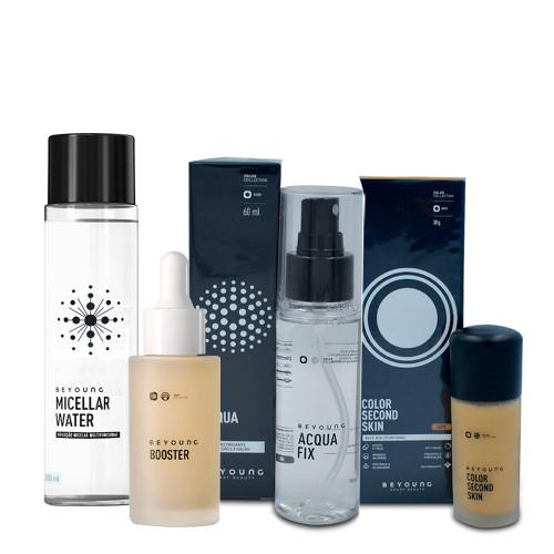 Kit Beyoung Acqua Fix Bruma + Micellar Water + Booster Serum + Base Color Second Skin 40w