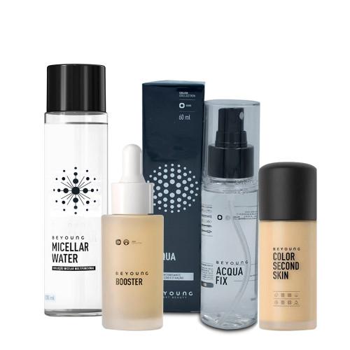 Kit Beyoung Acqua Fix Bruma + Micellar Water + Booster Serum + Base Color Second Skin 20n