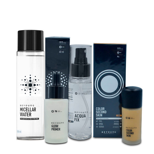Kit Beyoung Acqua Fix Bruma + Micellar Water + Glow Primer Silver Color + Base Color 40w