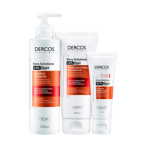 Vichy Dercos Kera-Solutions Trio Treatment Kit Frizz Control Action Shampoo, Replenishing Conditioner and Leave-in