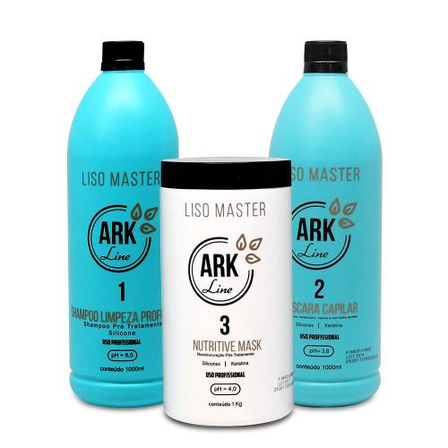 Kit Ark Line Smooth Progressive Master Shampoo Cleanser and Hair Mask 2x1L/2x35.2 fl.oz and Mask 1kg/35.2 fl.oz