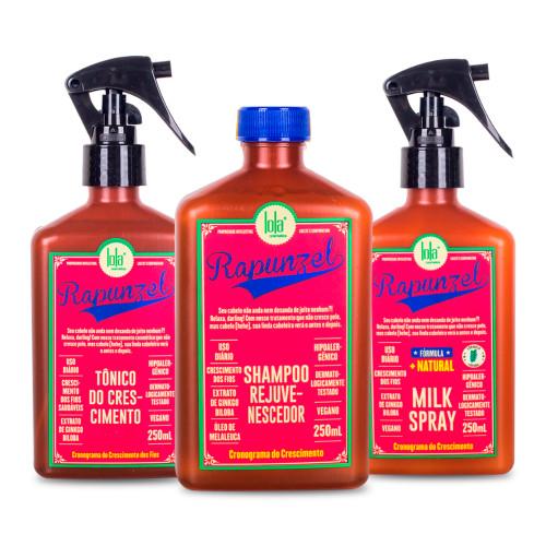 Kit Lola Rapunzel Shampoo Tonic Milk Spray Tratamento Completo 3x250ml/3x8.45 fl.oz