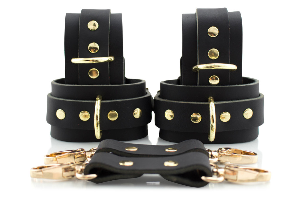 London Bond Collection- Black Handcrafted Leather Bondage Cuffs (6 piece Ankle/Wrist set)