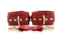 London Bond Collection -Red Handcrafted Leather Bondage Cuffs (In Ankle or Wrist)