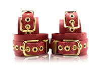 London Bond Collection -Red Handcrafted Leather Bondage Cuffs (6 piece Ankle/Wrist set)