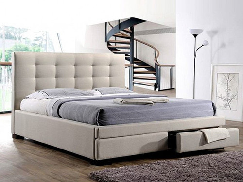 Bronte Double Bed with Storage Drawers in Light Beige