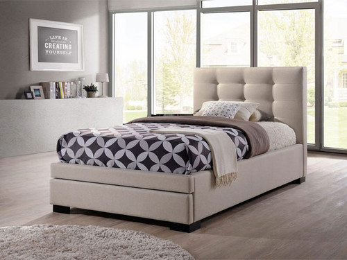 Bronte King Single Bed with Storage Drawers in Light Beige