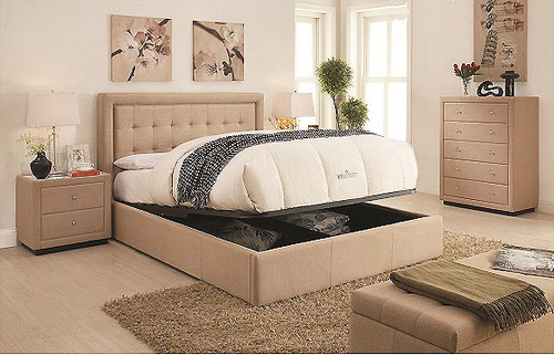 Regent King Bed with Gas Lift Storage in Linen