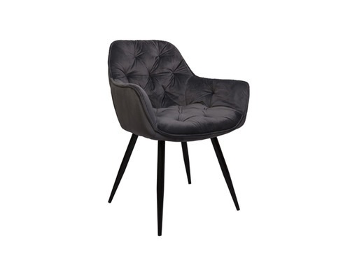 Ava Velvet Dining Chair in Grey