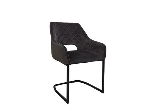 Salvi Velvet Dining Chair in Pebble Grey