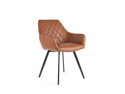 Zeus Eco Leather Dining Chair in Vintage Cognac