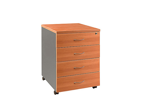 Oxford Mobile Pedestal 4 Drawers Cherry/Charcoal