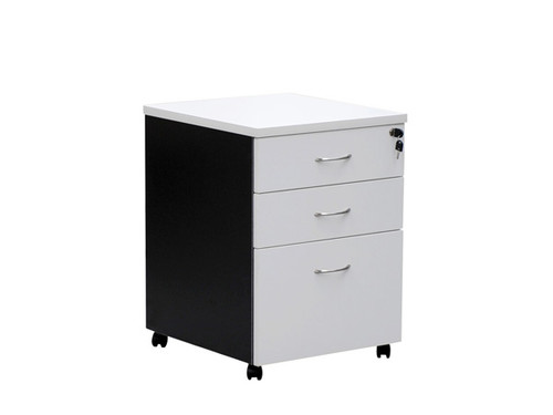 Oxford Mobile Pedestal 2 Drawer 1 File White/Charcoal